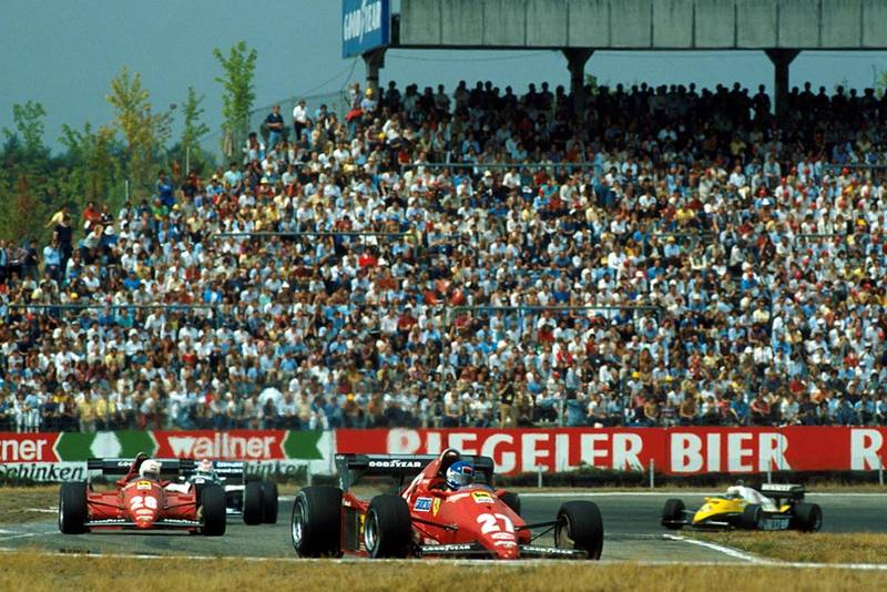 Patrick Tambay, Ferrari 126C3, leads Arnoux, Piquet and Prost.