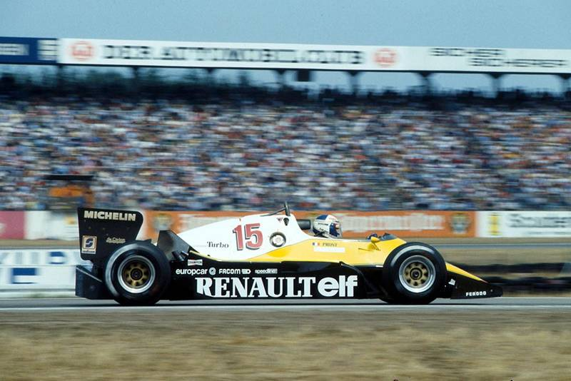 Alain Prost, Renault RE40, who finished 4th.