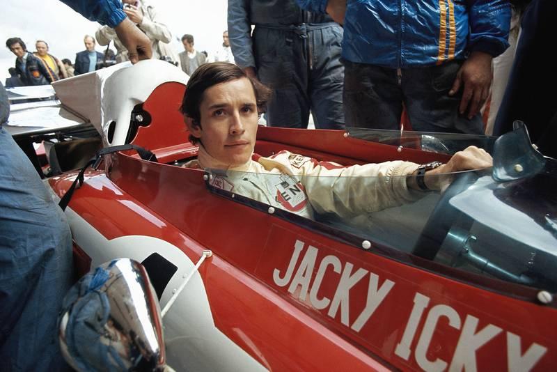 Jacky Ickx sits in his Ferrari before the start of the 1972 Spanish Grand Prix, Jarama.