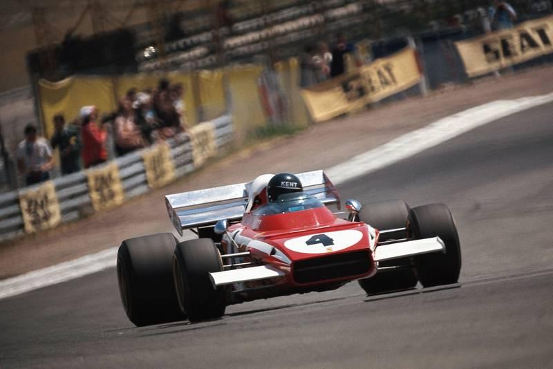 Jacky Ickx takes a corner in his Ferrari at the 1972 Spanish Grand Prix, Jarama