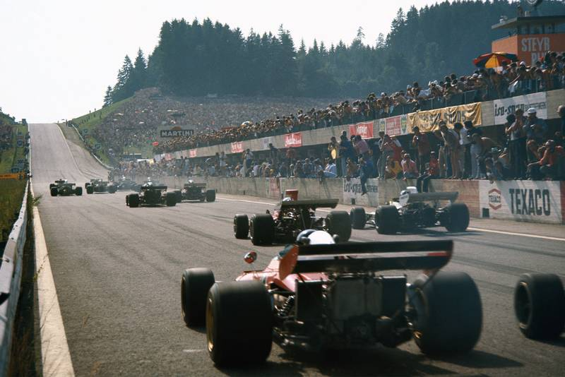 Cars set off up the hill at the start of the 1972 Austrian Grand Prix.