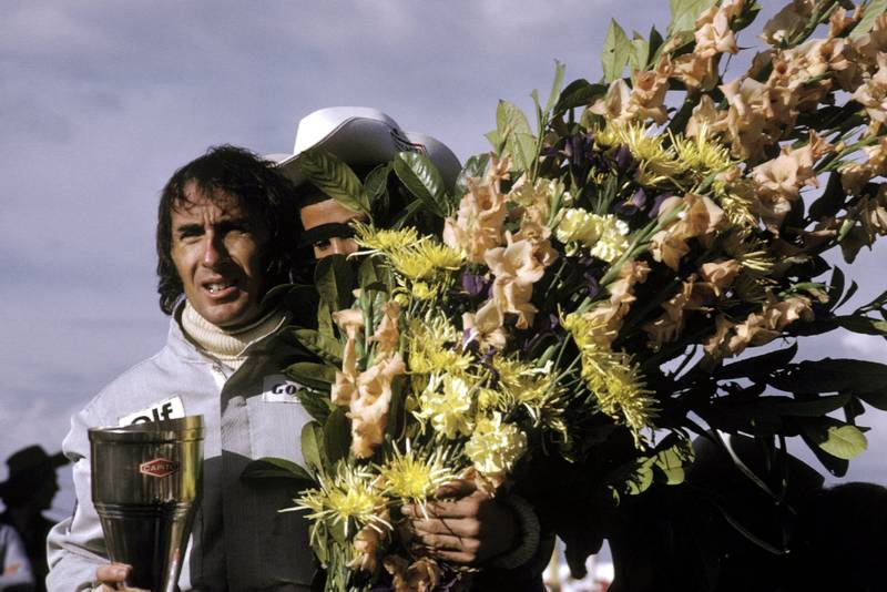 Jackie Stewart (Tyrrell) celebrates his victory at the 1973 Belgian Grand Prix.