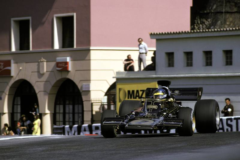 Ronnie Peterson driving for Lotus at the 1973 Monaco Grand Prix.