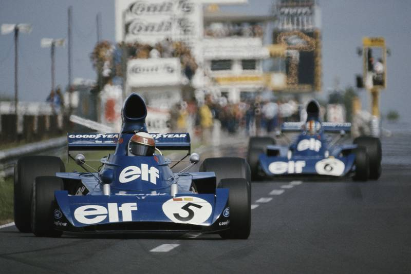 Jackie Stewart leads Tyrrell team-mate Francois Cevert at the 1973 German Grand Prix, Nurburgring.