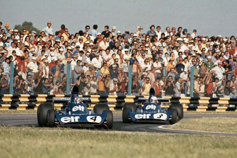 Depailler leads Tyrrell team-mate Scheckter at the 1974 Argentine Grand Prix, Buenos Aires.
