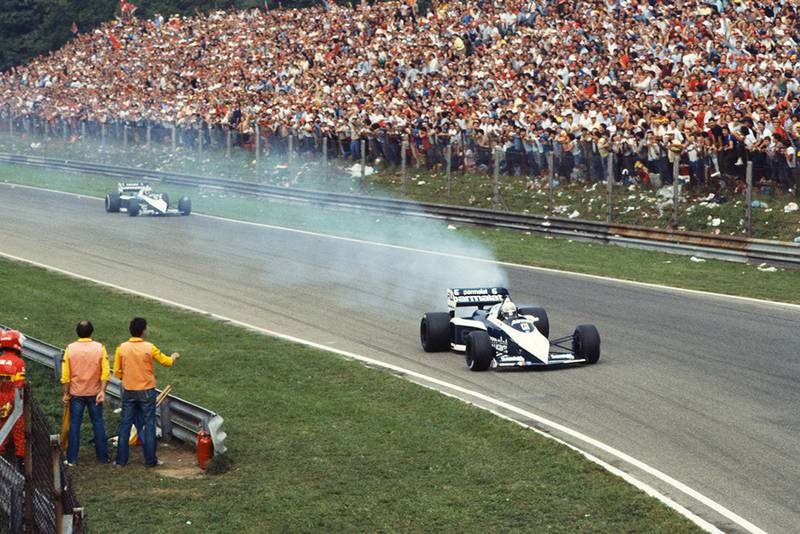 Riccardo Patrese retired with smoking engine in his Brabham BT52B BMW, ahead of team-mate and race winner Nelson Piquet.