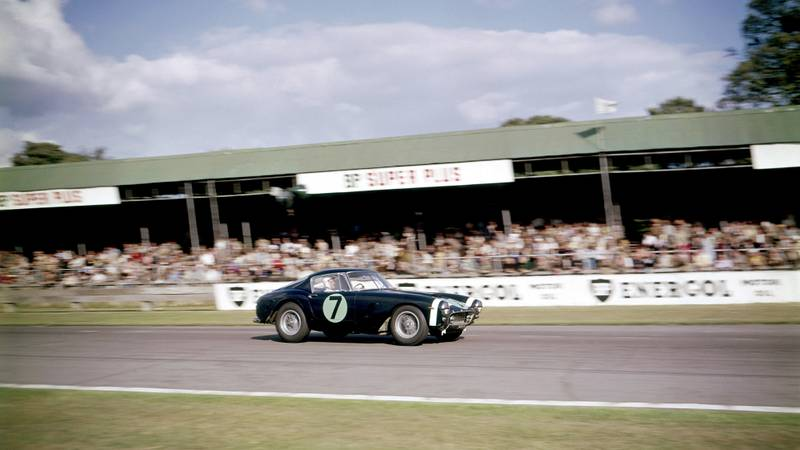 Colour photo of Stirling Moss' Ferrari 250 GT on his way to victory in the 1961 Tourist Trophy at Goodwood