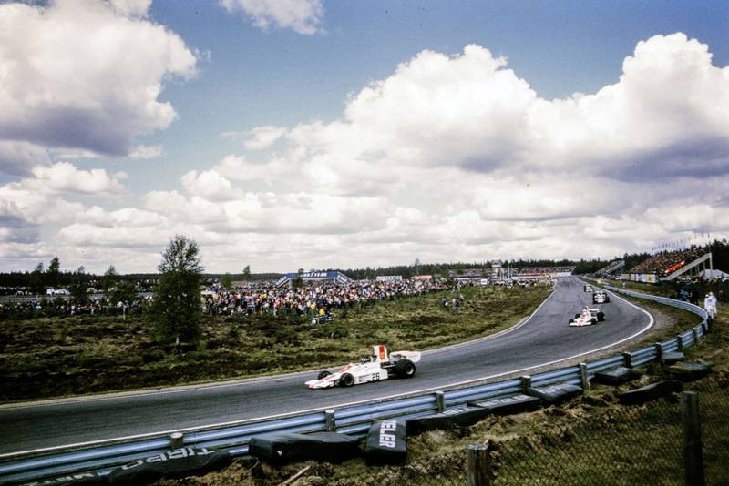 Graham Hill driving for his eponymous team at the 1974 Swedish Grand Prix.
