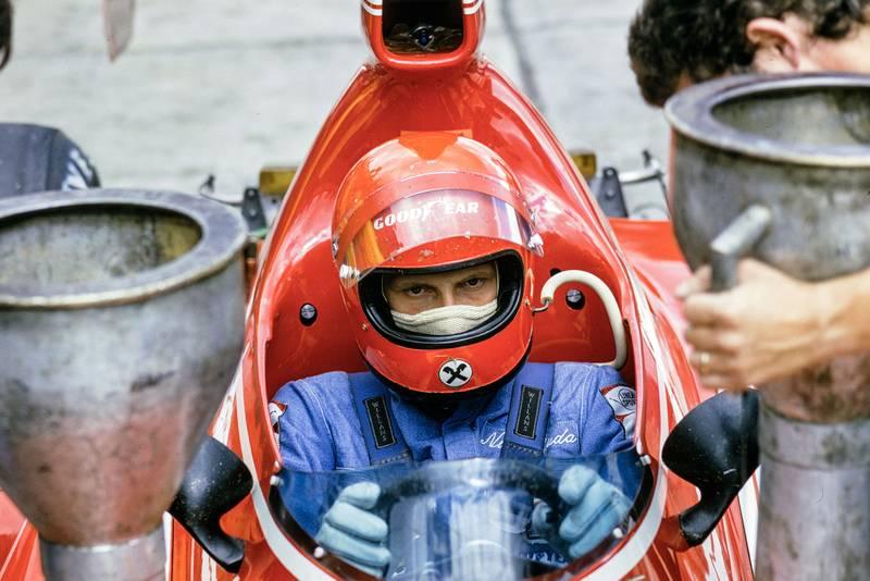 Niki Lauda sits in his Ferrari at the 1974 German Grand Prix.