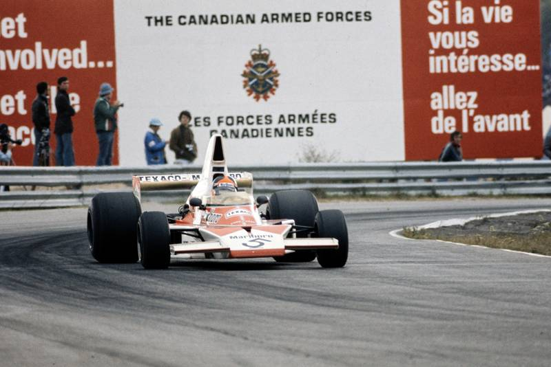 Emerson Fittipaldi (McLaren) racing at the 1974 Canadian grand Prix, Mosport.