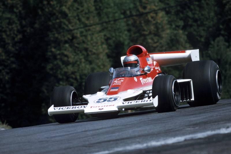 Mario Andretti driving a Parnelli at the 1974 United States Grand Prix.