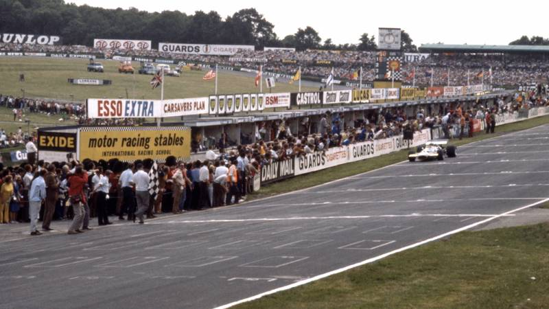 Jack Brabham coasts to the finish line at Brands Hatch to take second place at the 1970 British Grand Prix