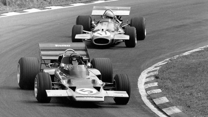 Jochen Rindt in the Lotus 72C leads Jack Brabham in the Brabham BT33 at the 1970 F1 British Grand Prix at Brands Hatch