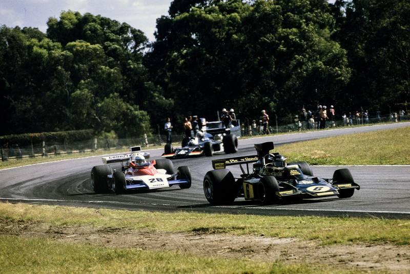 Jacky Ickx (Lotus) leads Mark Donohue (Penske) and Tom Pryce (Shadow).