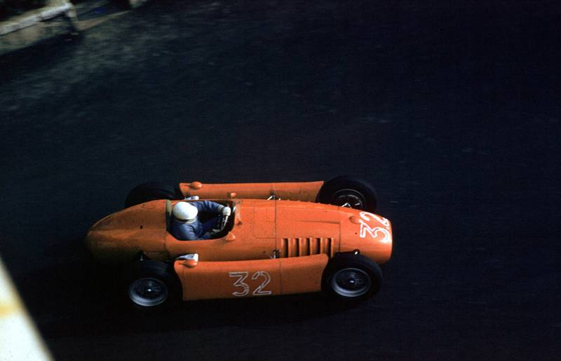 Louis Chiron (Lancia D50) on his way to sixth place at the 1955 Monaco Grand Prix, Monte Carlo.