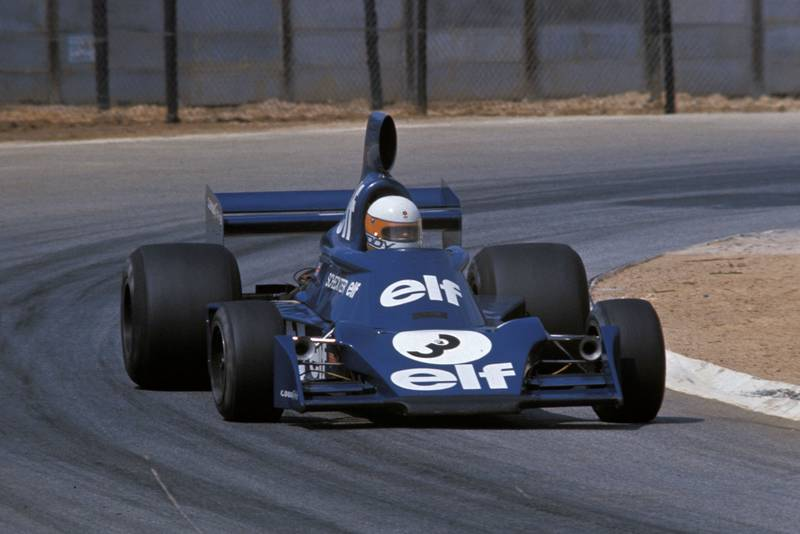 Jody Scheckter driving for Tyrrell at the 1975 South Afircan Grand Prix.