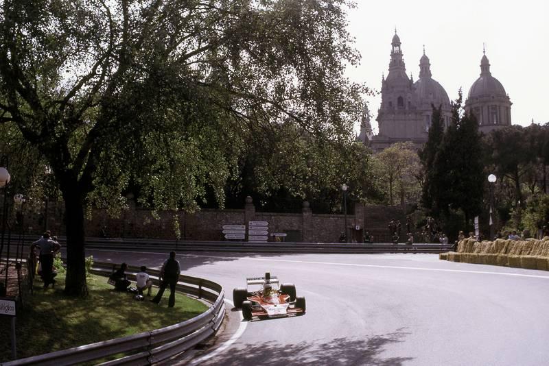 Jochen Mass (McLaren) rounds a bend at the 1975 Spanish Grand Prix, Montjuïc Park.