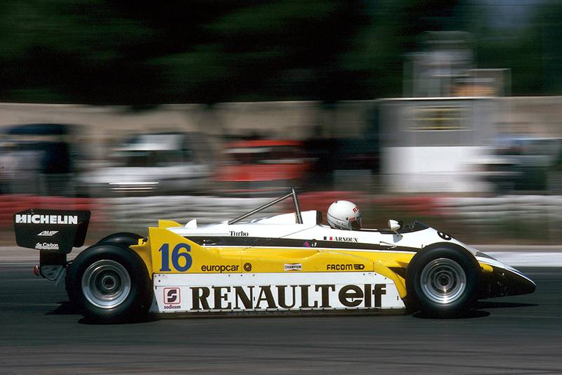 Rene Arnoux drove his Renault RE30B to a win.