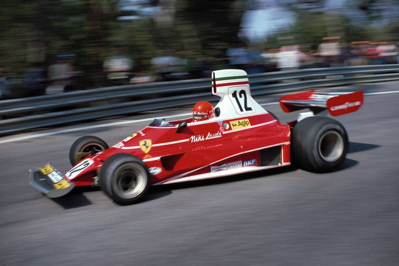 Niki Lauda driving for Ferrari at the 1975 Spanish Grand Prix, Montjuïc.