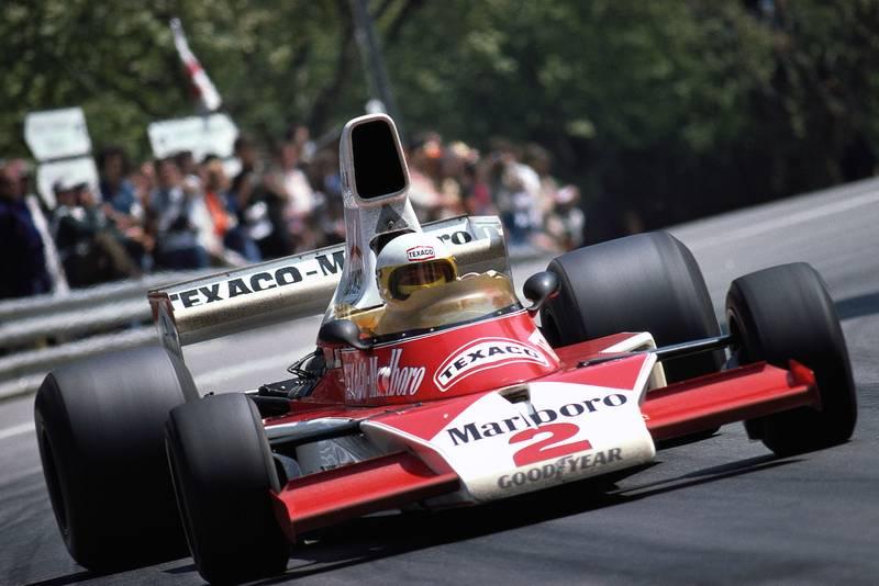 Jochen Mass driving for McLaren at the 1975 Spanish Grand Prix.