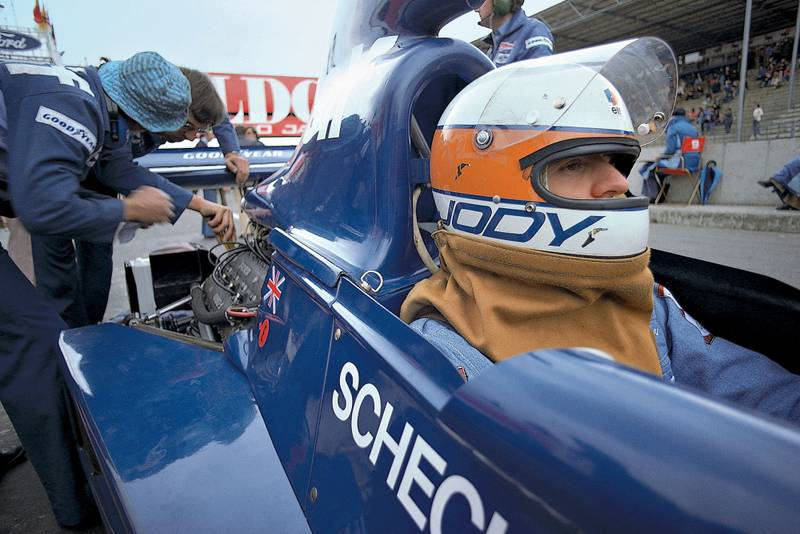 Tyrrell's Jody Scheckter prepares to head out at the 1975 Belgian Grand Prix, Zolder.