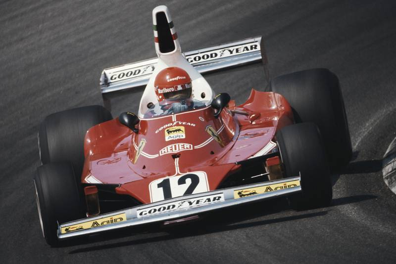 Niki Lauda in his Ferrari at the 1975 Belgian Grand Prix