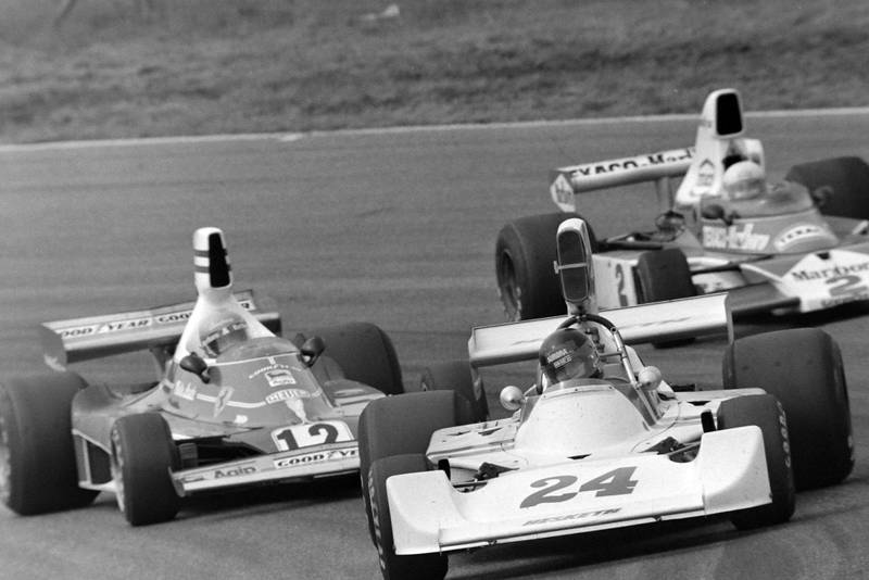 James Hunt (Hesketh) soaks up the pressure from Niki Lauda and Emerson Fittipaldi