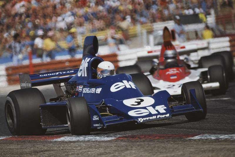 Jody Scheckter deals with a bout of understeer from his Tyrrell at the 1975 French Grand Prix, Paul Ricard.