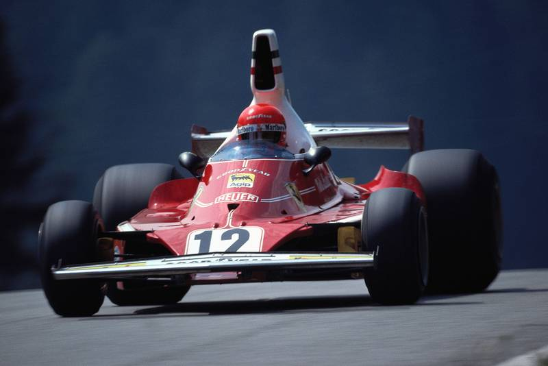 Niki Lauda in his Ferrari at the 1975 Austrian Grand Prix, Osterreichring.