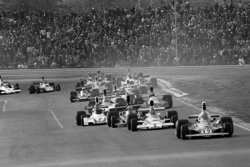 Niki Lauda leads at the start of the 1975 United States Grand Prix, Watkins Glen.