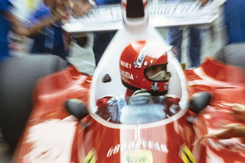 Niki Lauda sits in his Ferrari at the 1975 United States Grand Prix.