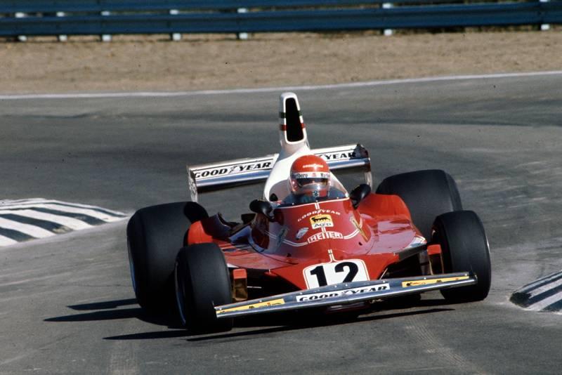 Niki Lauda (Ferrari) driving at the 1975 United States Grand Prix, Watkins Glen.