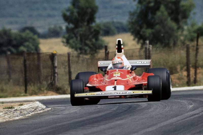 Niki Lauda (Ferrari) taking a corner at the 1976 South African Grand Prix, Kyalami.