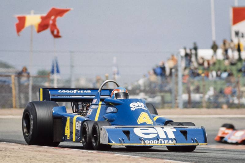 Patrick Depailler in Tyrrell's P34 at the 1976 Spanish Grand Prix.