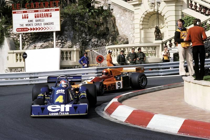 Patrick Depailler (Tyrrell) is followed by Vittorio Brambilla (March) at the 1976 Monaco Grand Prix.