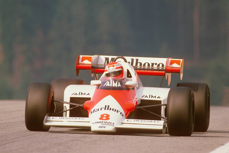 Niki Lauda in first place in his McLaren MP42 TAG Porsche.