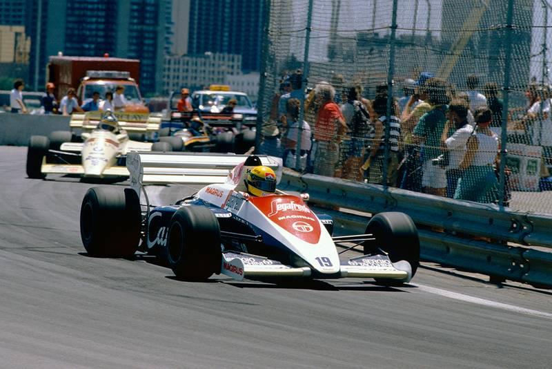 Ayrton Senna in his Toleman TG184-Hart.