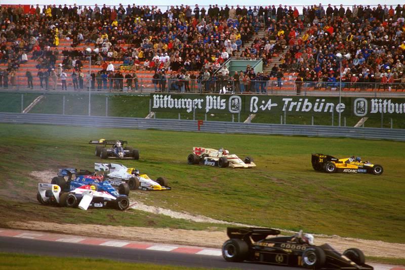 On the opening lap Ayrton Senna (Toleman TG184 Hart), Piercarlo Ghinzani (Osella FA1F Alfa Romeo), Marc Surer (Arrows A7 BMW) and Gerhard Berger (ATS D7 BMW) all retired.