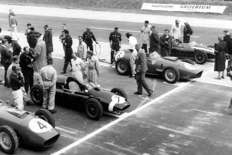 Tony Brooks -Ferrari Dino 246; Stirling Moss - Cooper T51; Dan Gurney - Ferrari Dino 246; Jack Brabham - Cooper T51.