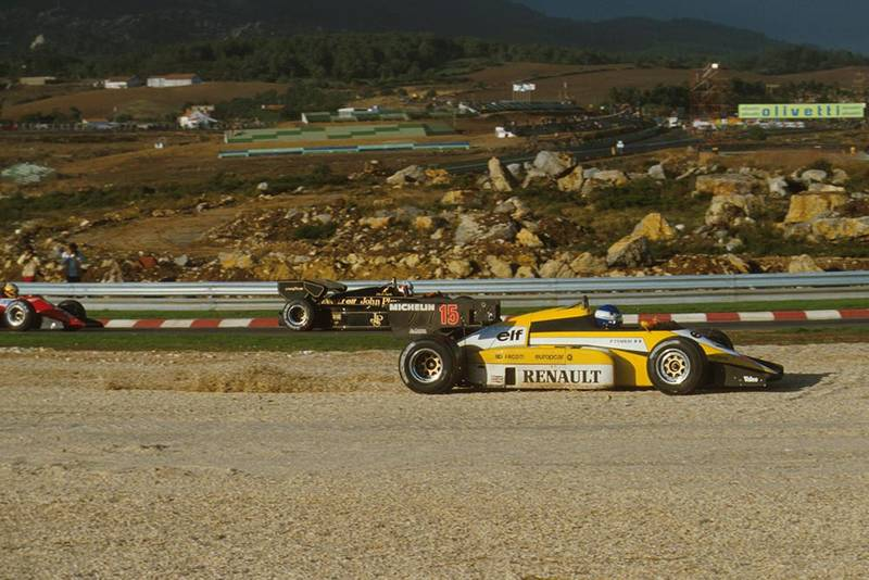 Patrick Tambay has an off in his Renault, while Elio de Angelis and Michele Alboreto pass.