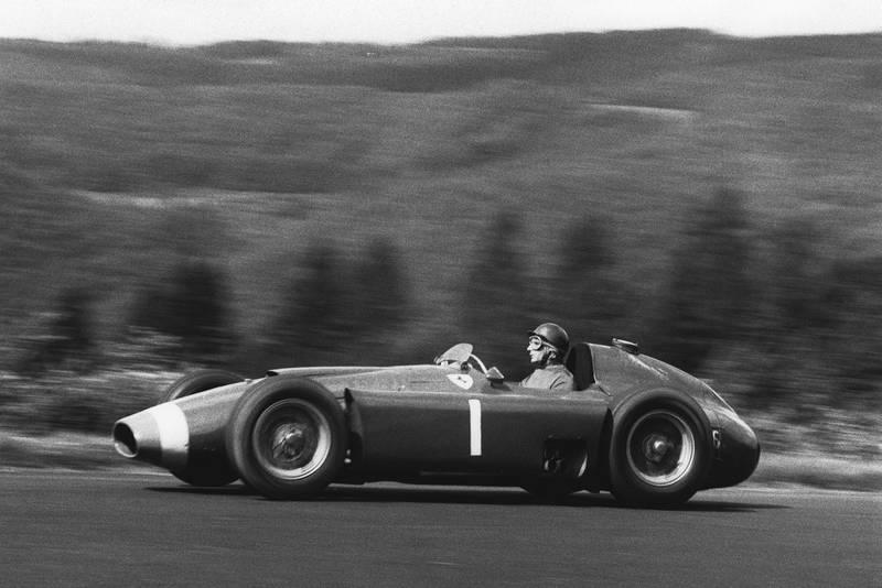 1956 German Grand Prix race winner Juan Manuel Fangio (Lancia ferrari D50), Nurburgring, Germany.