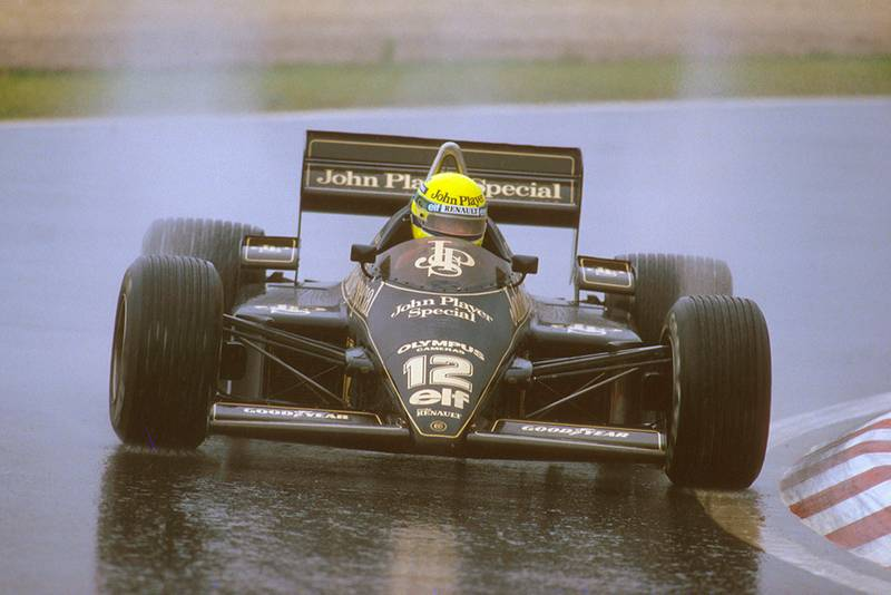 Ayrton Senna in 1st driving a Lotus 97T Renault.