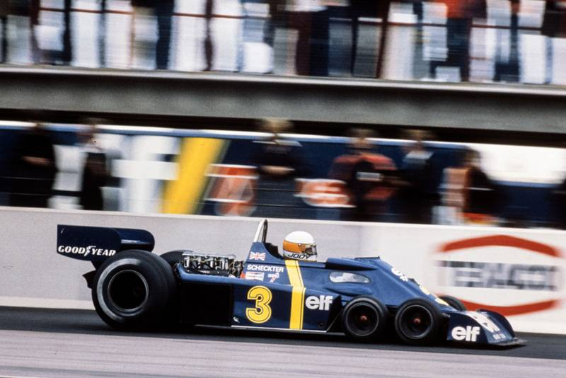 Jody Scheckter driving for Tyrrell P34 at the 1976 Swedish Grand Prix.
