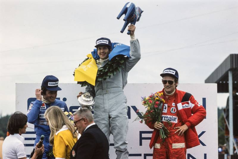 Jody Scheckter (Tyrrell) celebrates winning the 1976 Swedish Grand Prix, Anderstorp.
