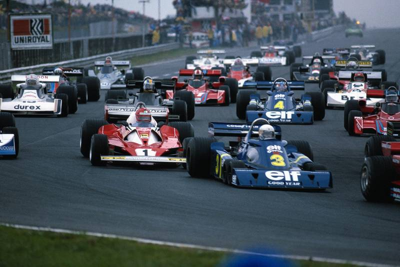The field heads to Turn One at the start of the of the 1976 German Grand Prix, Nürburgring.