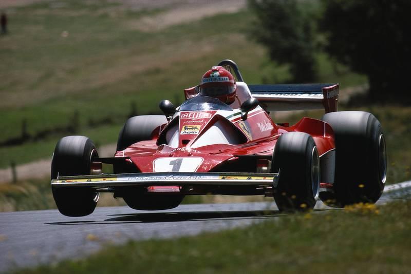 Niki Lauda (Ferrari) takes flight at the 1976 German Grand Prix, Nürburgring.