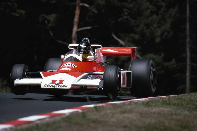 James Hunt (McLaren) takes flight at the Flugplatz during the 1976 German Grand Prix, Nürburgring.