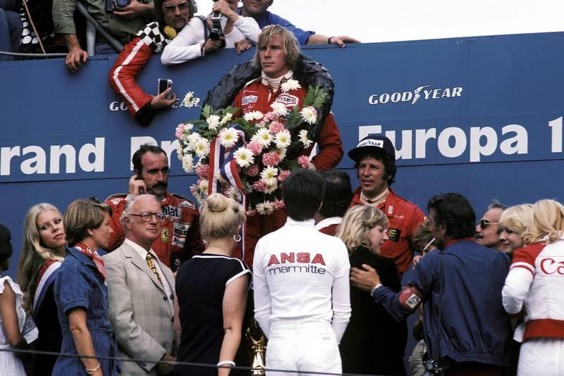 James Hunt (McLaren) stands on the podium at the 1976 Dutch Grand Prix, Zandvoort.