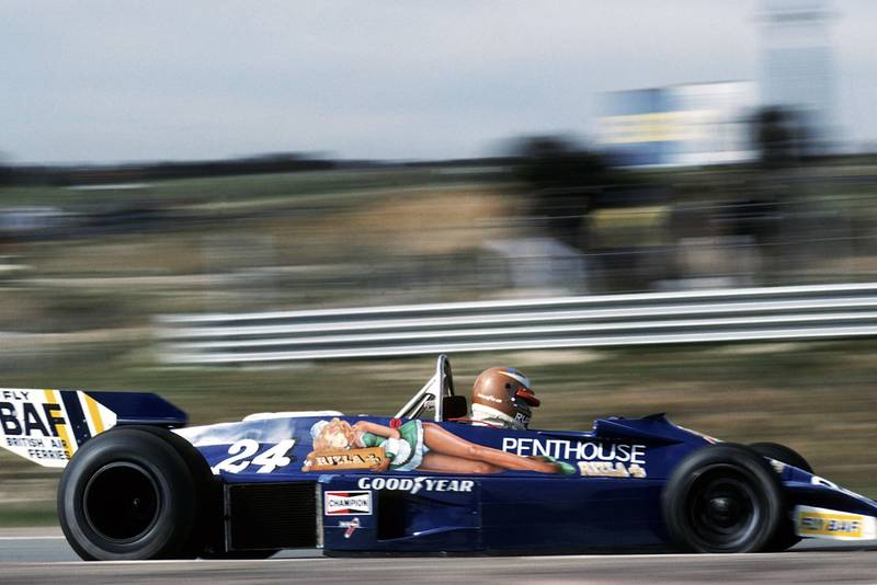 Rupert Keegan (Hesketh) crashed out on lap 16 of the 1977 Spanish Grand Prix, Jarama.