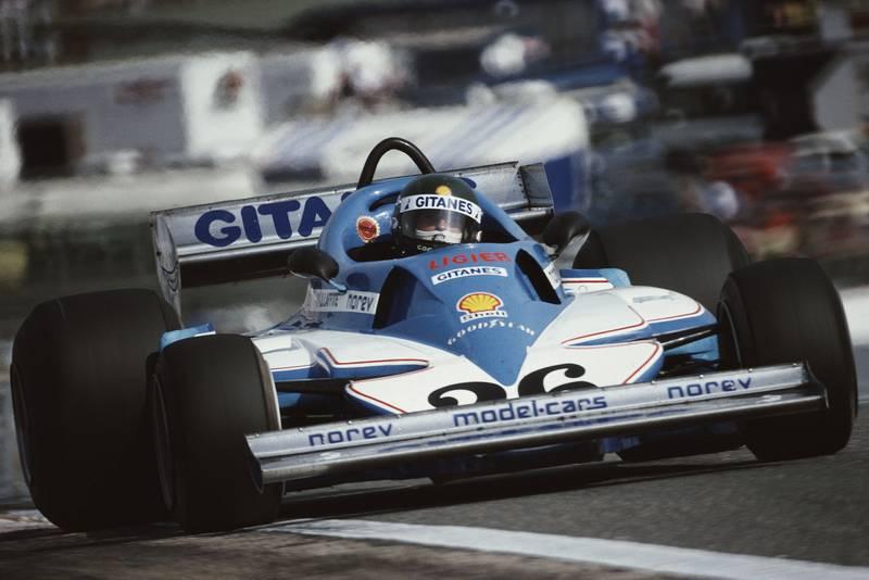 Jacques Laffite (Ligier) at the 1977 Spanish Grand Prix, Jarama.